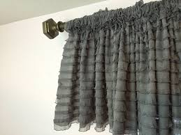 Pink Ruffle Curtain Topper by Amazon Com Gray Ruffle Valance Sheer Extra Wide Window Treatment