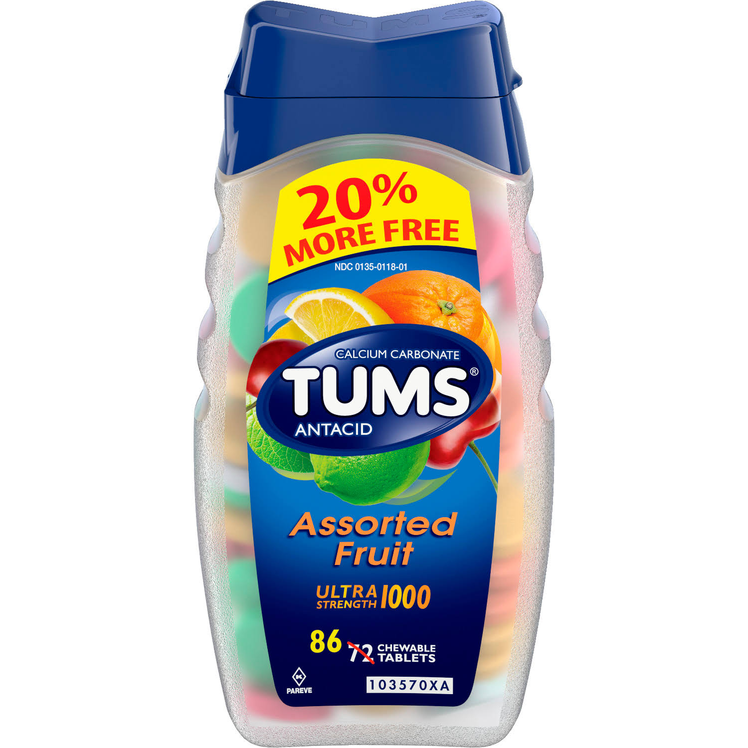 Tums Antacid Ultra Strength 1000 - 86 Chewable Tablets, Assorted Fruit - 86 CT86.0 CT