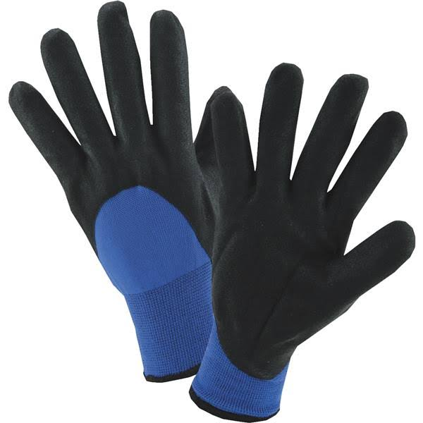 West Chester Winter Sandy Nitrile Coated Gloves - Black/Blue, Xlarge