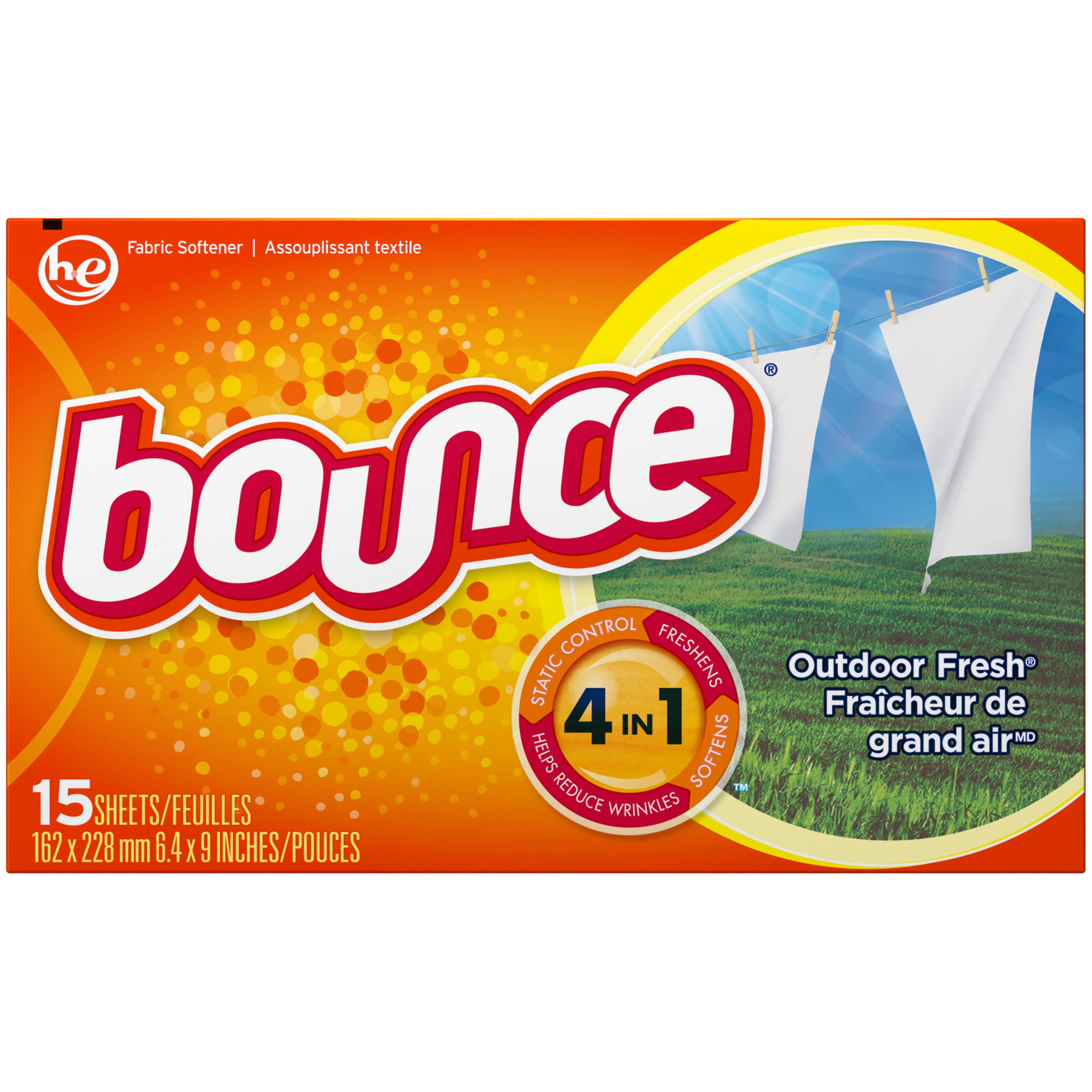 Bounce Dryer Sheets Outdoor Fresh - 15 Pack