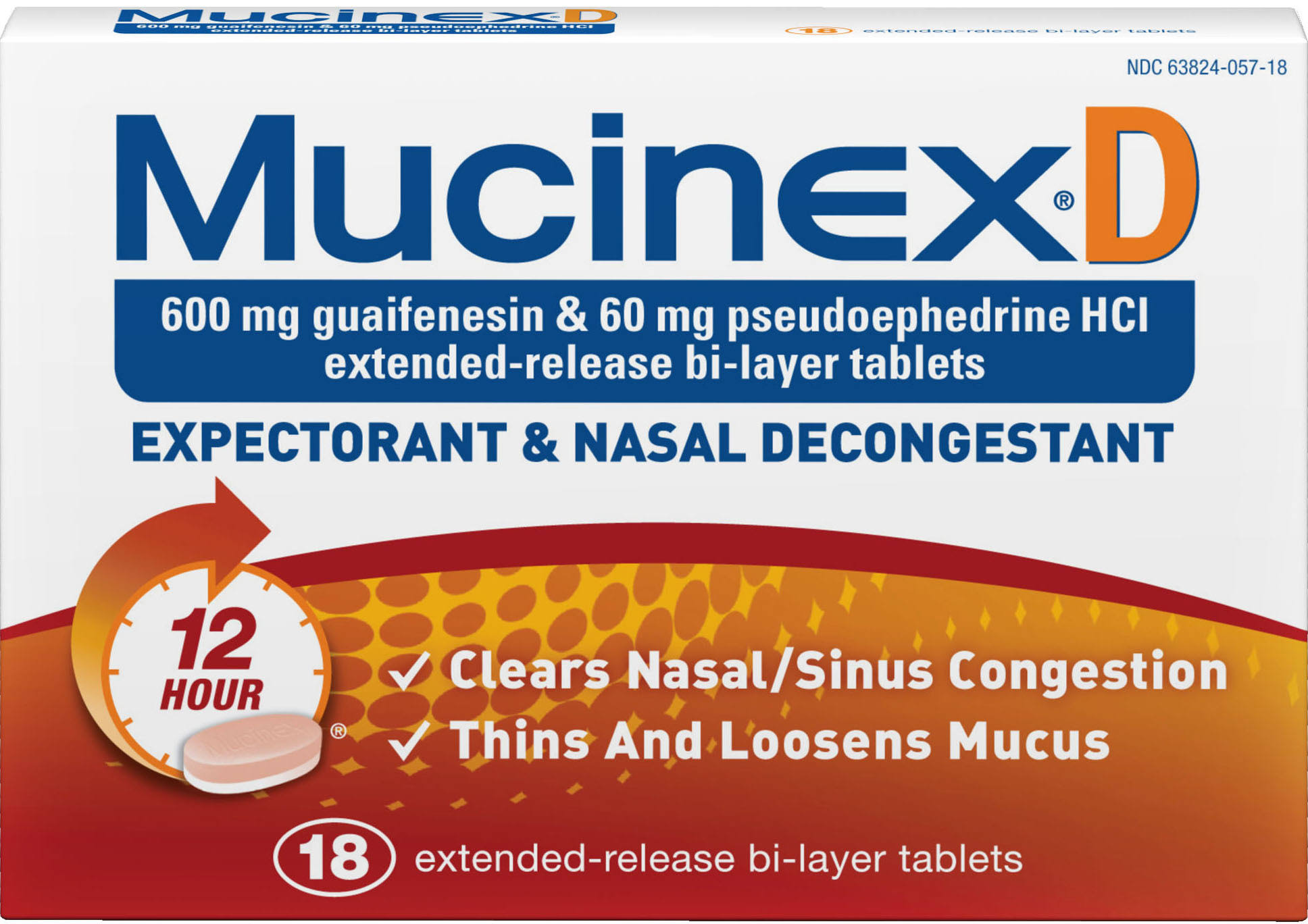 Mucinex D Expectorant & Nasal Decongestant, 12 Hour, Extended-Release Bi-Layer Tablets - 18 tablets