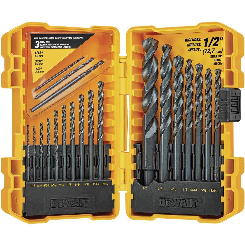 Dewalt Drill Bit Set - 20 Pieces, Black Oxide