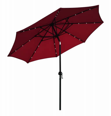 March Products 230635 9 ft. x 9 in. 38 mm Four Seasons Courtyard Red Steel Market Umbrella