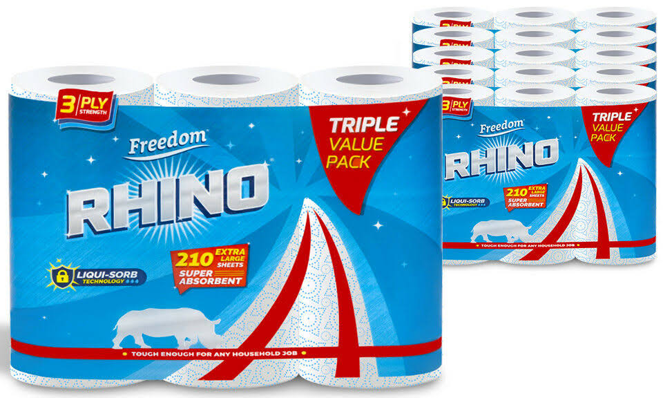 Freedom Rhino Kitchen Towels 15-Pack with Finish Dishwasher Tabs 65-Pack