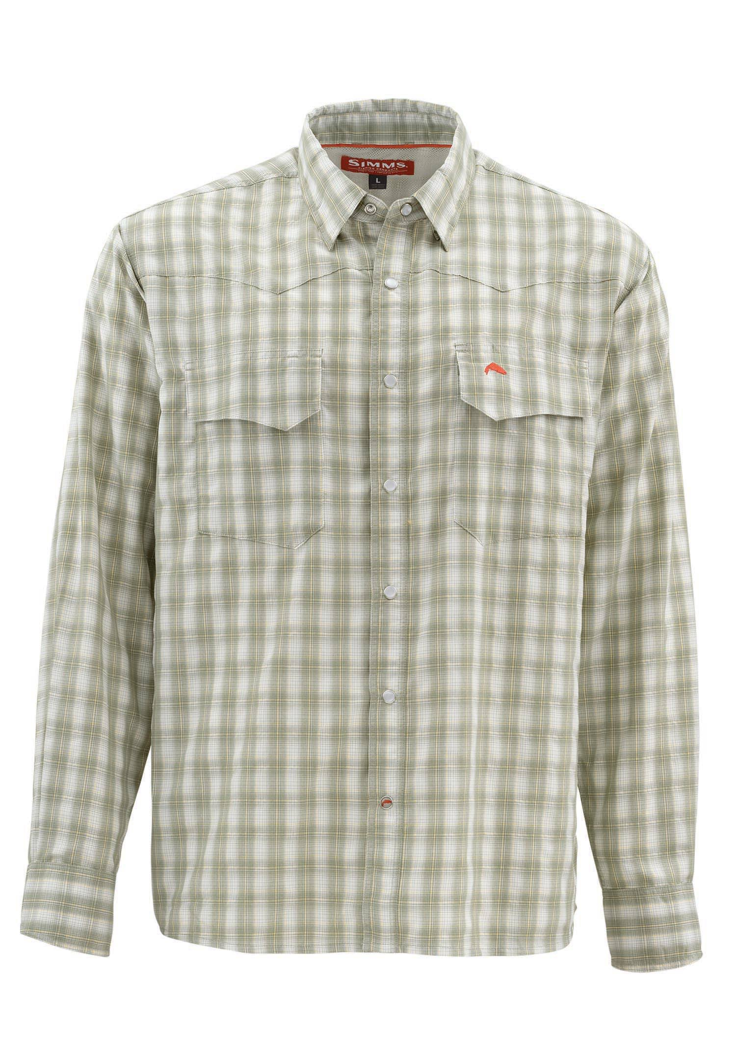 Simms Big Sky Shirt: L; Dark Khaki Plaid; Long Sleeve