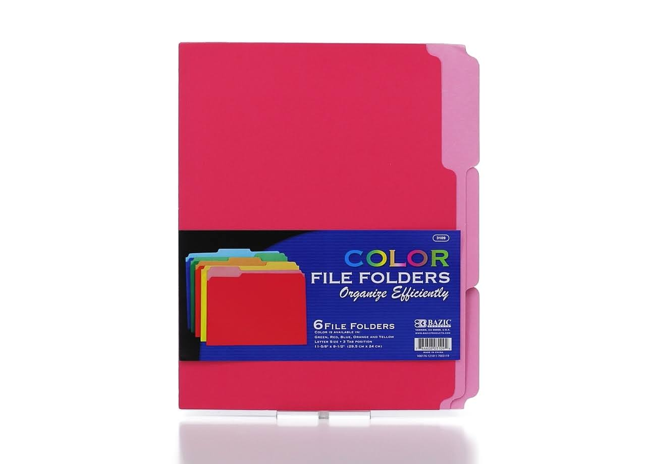 "Bazic Letter Size Color File Folder - 1/3"" Cut, 48pk"