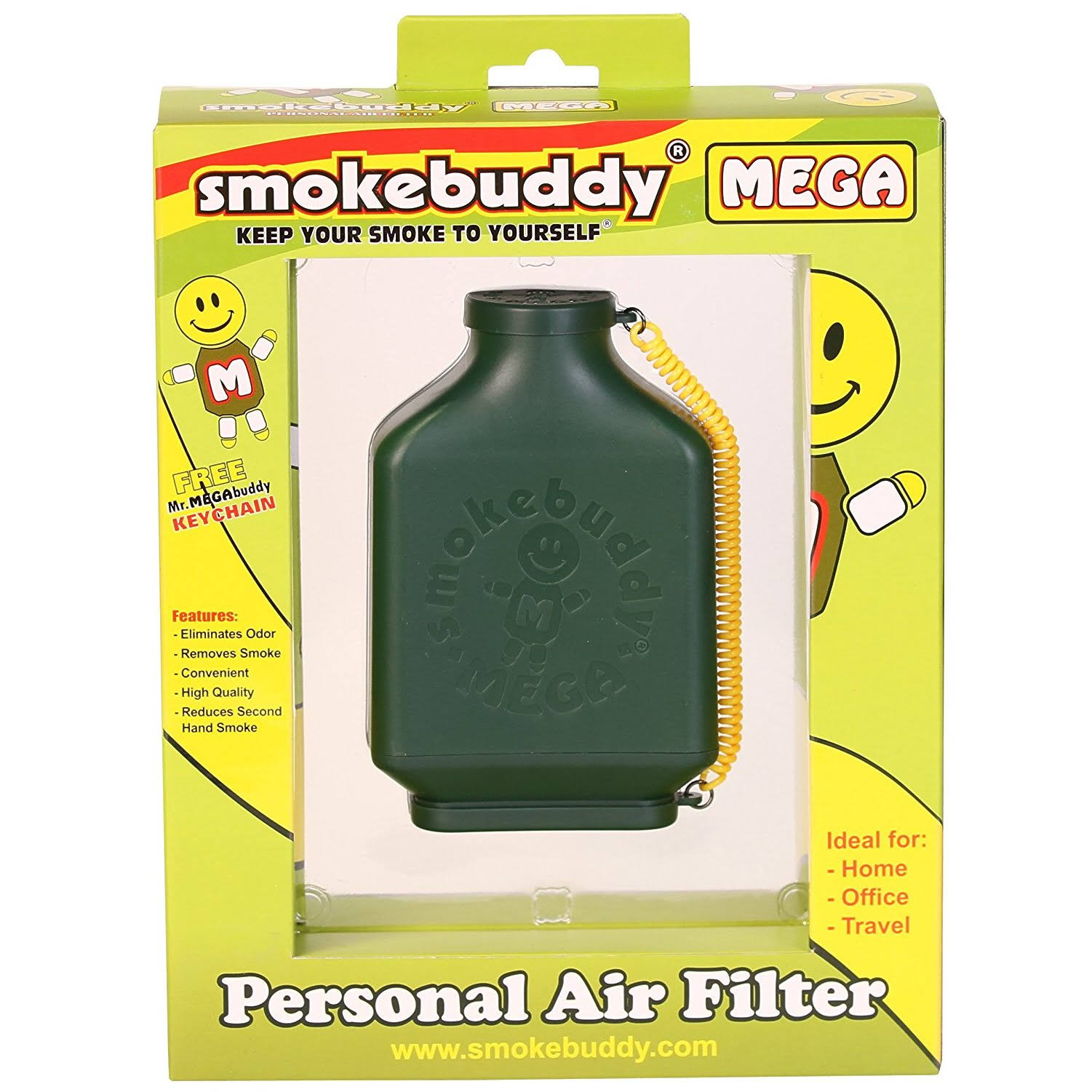 Smoke Buddy Mega Personal Air Purifier Cleaner Filter Removes Odor - Green