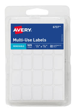 "Avery Multi-Use Removable Labels - 525ct, Rectangle, 0.5""x0.75"", White"