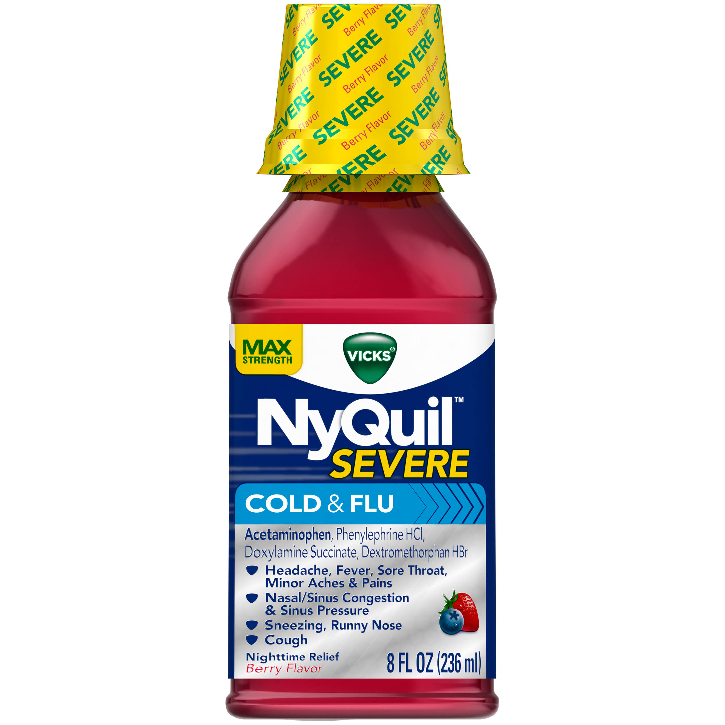 Vicks NyQuil Severe Cold and Flu Nighttime Liquid Relief - Berry, 8oz