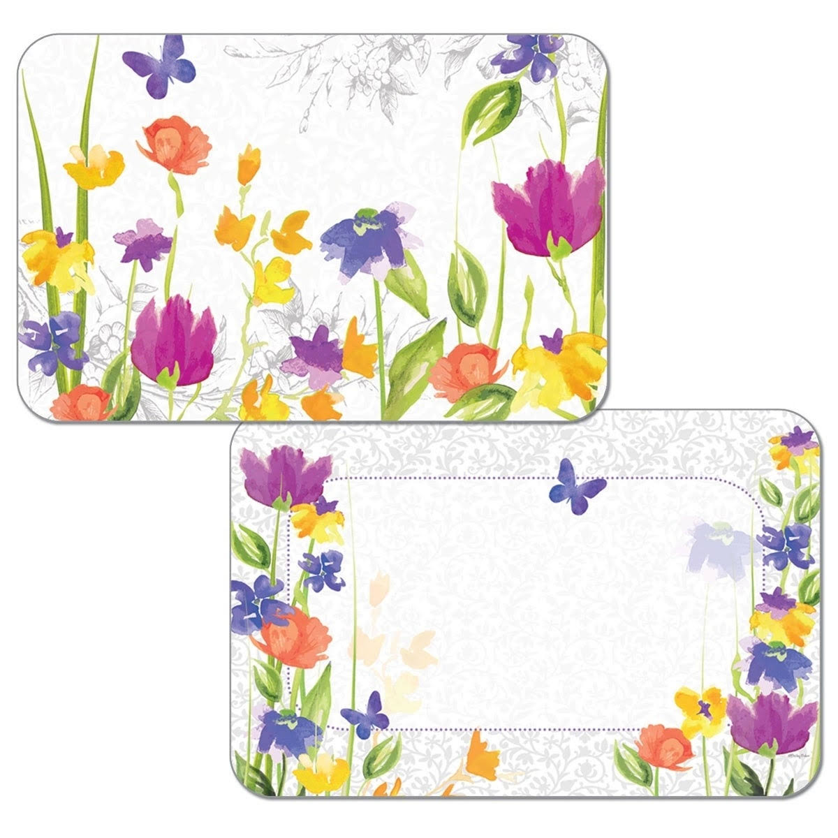 Cart Heritage Garden Flowers and Butterflies Reversible Vinyl Placemats Set of Four