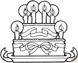 Cake Decorating Books Free by Birthday Cake With Ribbons Coloring Page Free Printable Coloring
