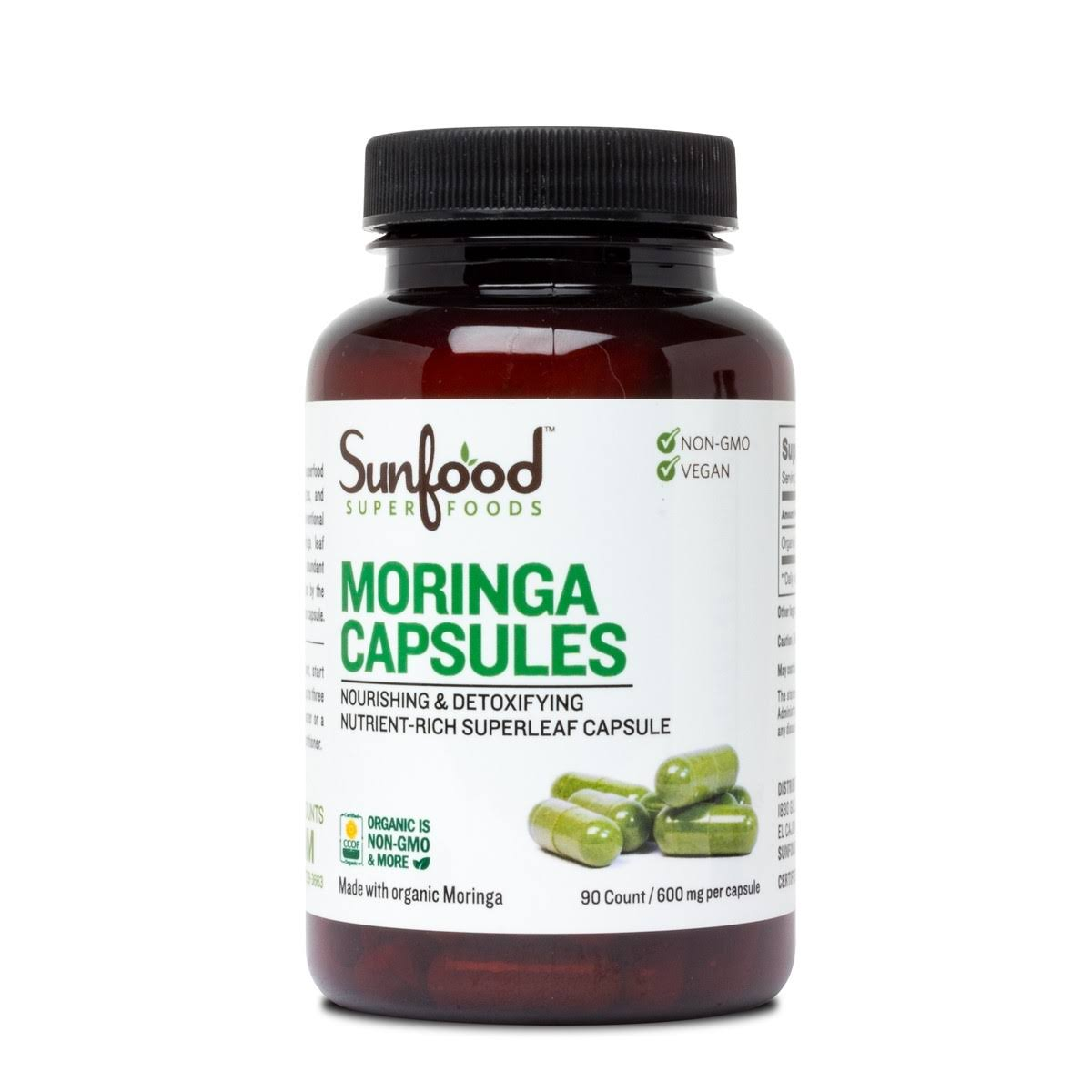 Sunfood Superfoods Moringa Capsules 600 mg. 90 Count