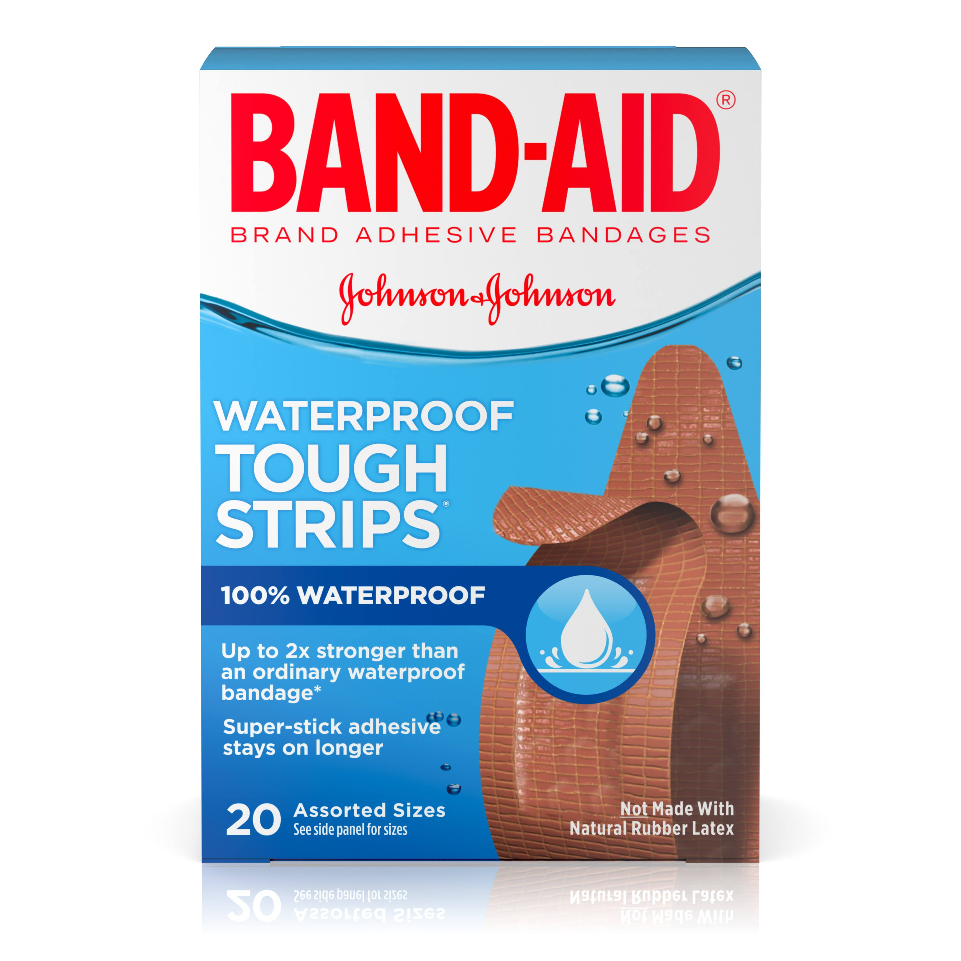 Band-Aid Tough Strips Waterproof Bandages - Assorted Sizes, 20ct