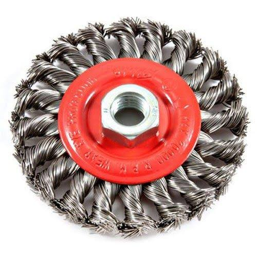 "Forney Threaded Arbor Twist Knot Wire Wheel - 4""x5/8"", 11 Thread"