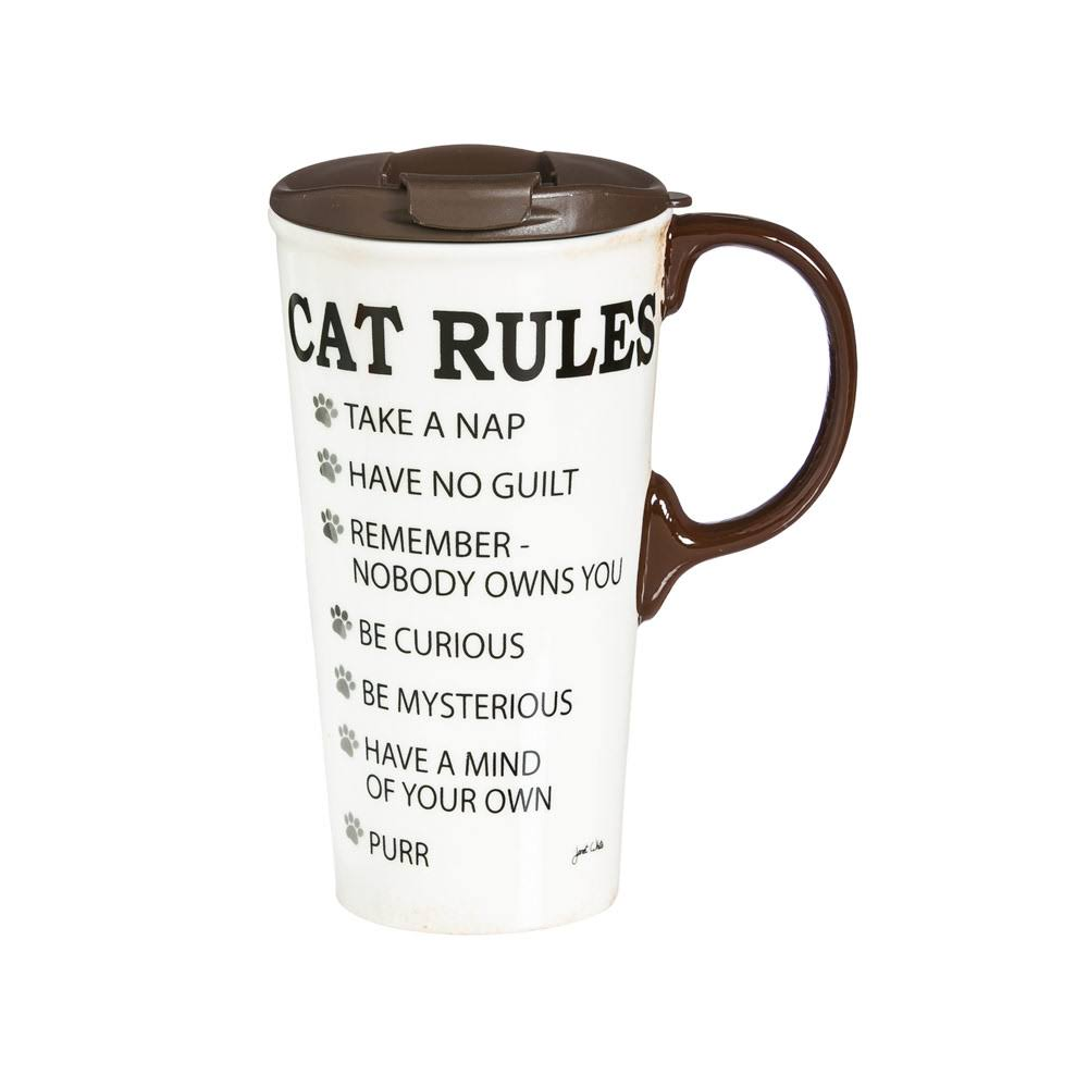 Cypress Home Ceramic Travel Coffee Mug - 17oz, Cat Rules