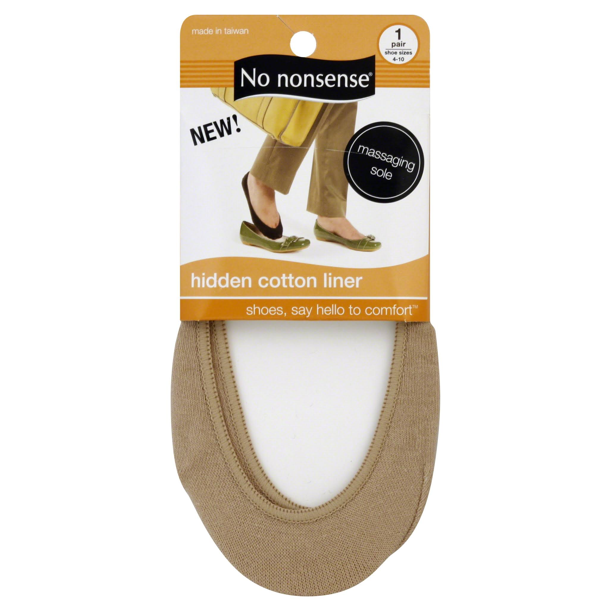 No Nonsense Hidden Cotton Liner Socks - Nude, 1 Pair