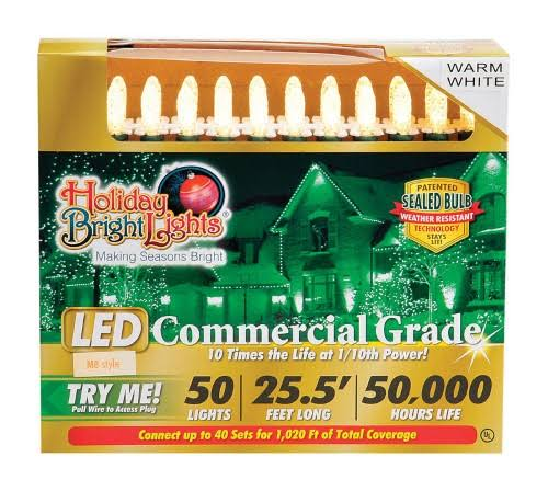 Holiday Bright Lights M8 LED Commercial Light Set - Warm White, 50 Lights, 25.5'