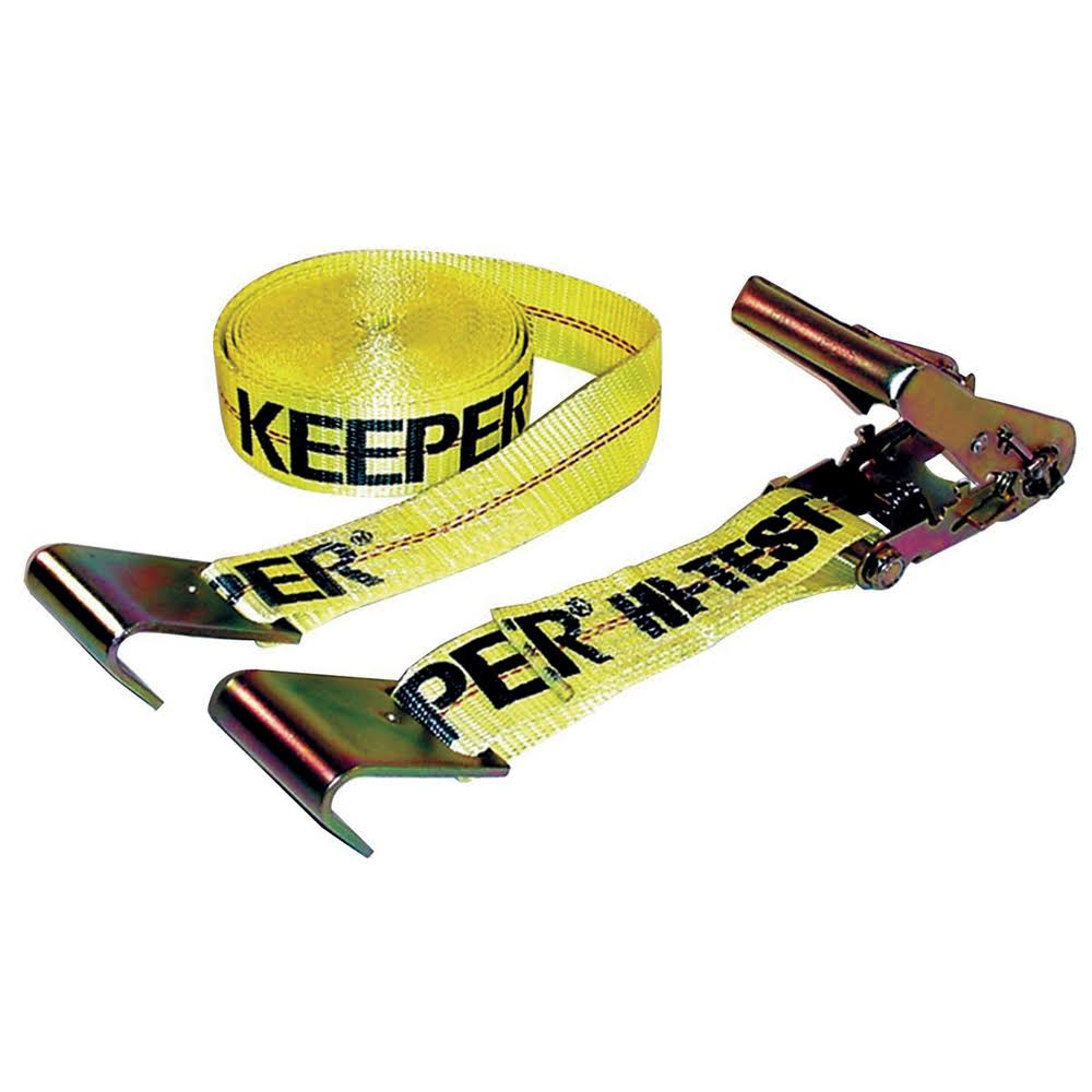 Keeper Flat Hook Ratchet Tie Down - Yellow