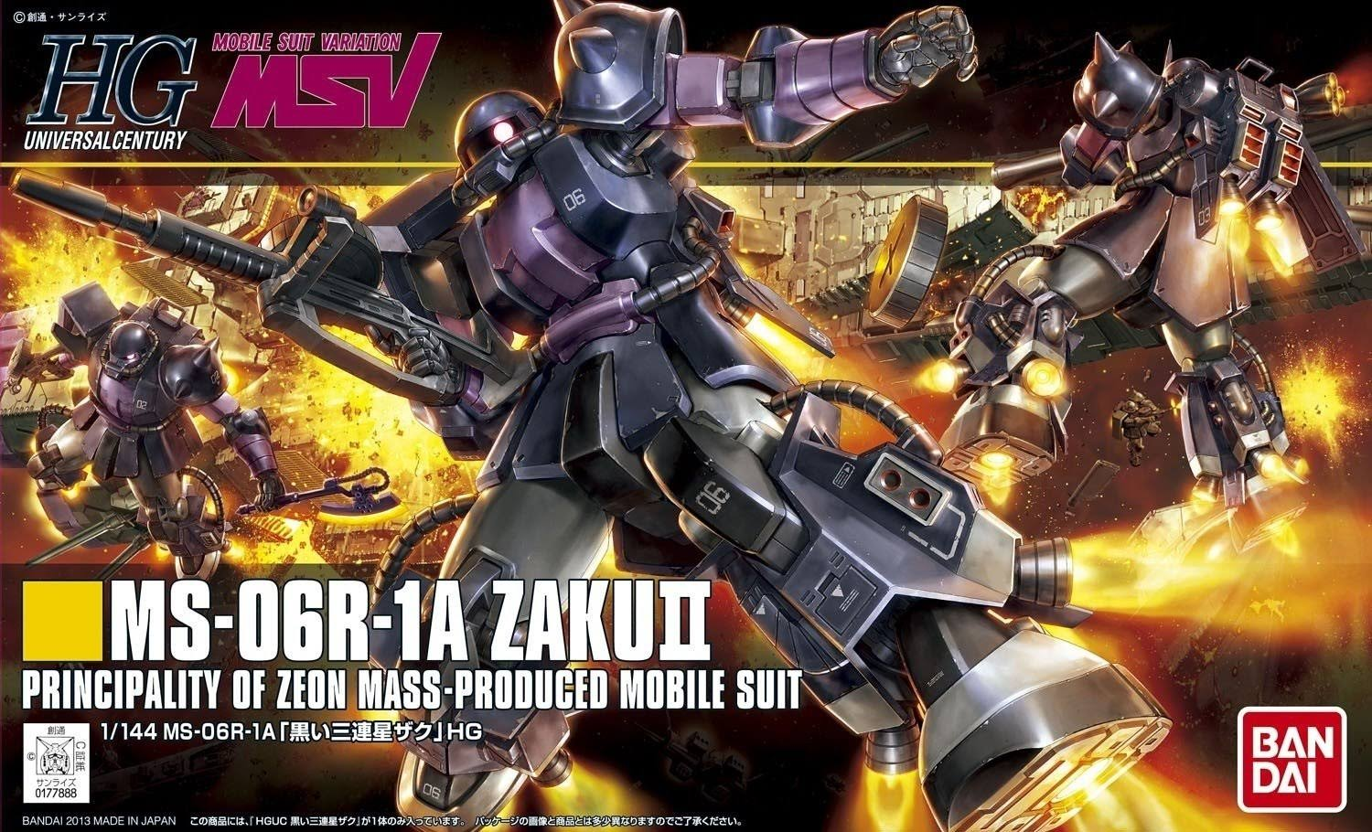 Bandai MS-06R-1A Black Tri Stars Zaku II Gundam Model Kit - Scale 1:144