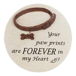 "Napco 12"" Forever in My Heart Dog Cement Memorial Garden Stone"