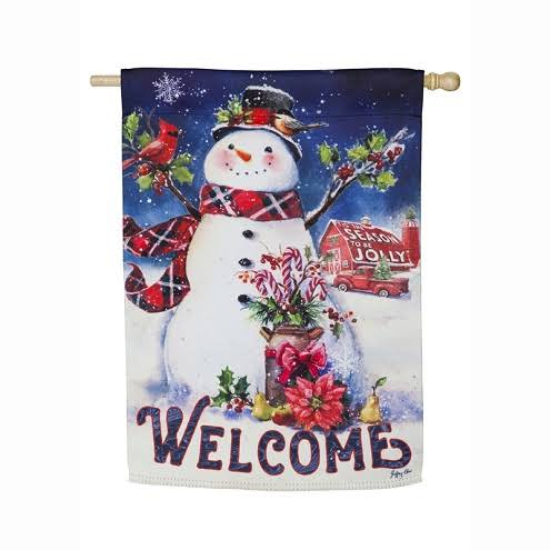 Evergreen Christmas Barn Snowman House Suede Flag