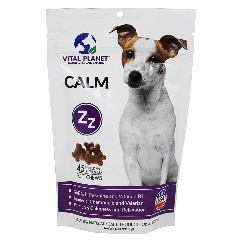 Vital Planet Calm Natural Support To Promote Relaxation And Calmness In Stressful Situations For Dogs - Chicken Flavored, 6.34ozz, 45 Count
