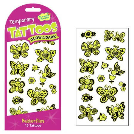 Peaceable Kingdom Butterfly Tattoos, Glows in The Dark