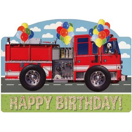 Paper House Productions Dalmation in Fire Truck Die Cut Foil Birthday Card for Kids, Size: 7 x 5