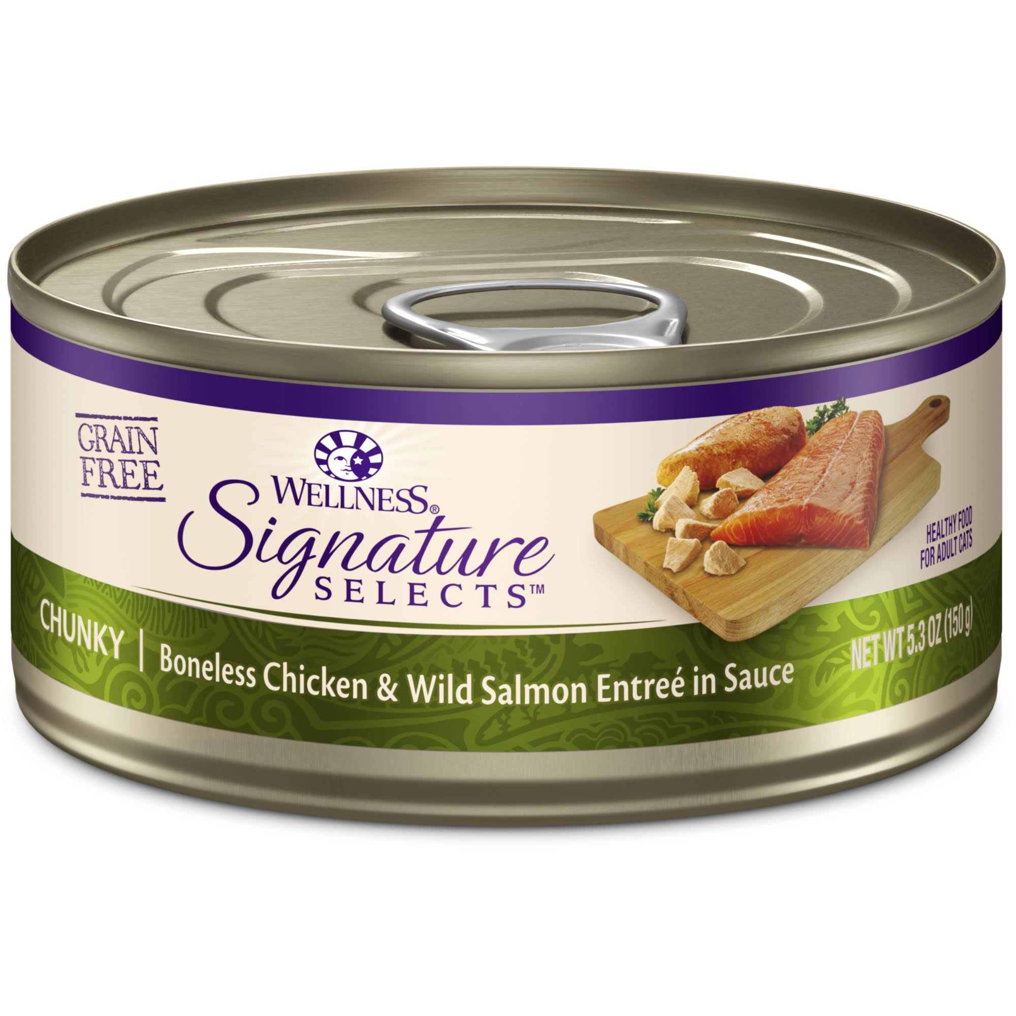 Wellness Signature Selects Canned Wet Cat Food - Chunky Chicken & Wild Salmon, 5.3oz