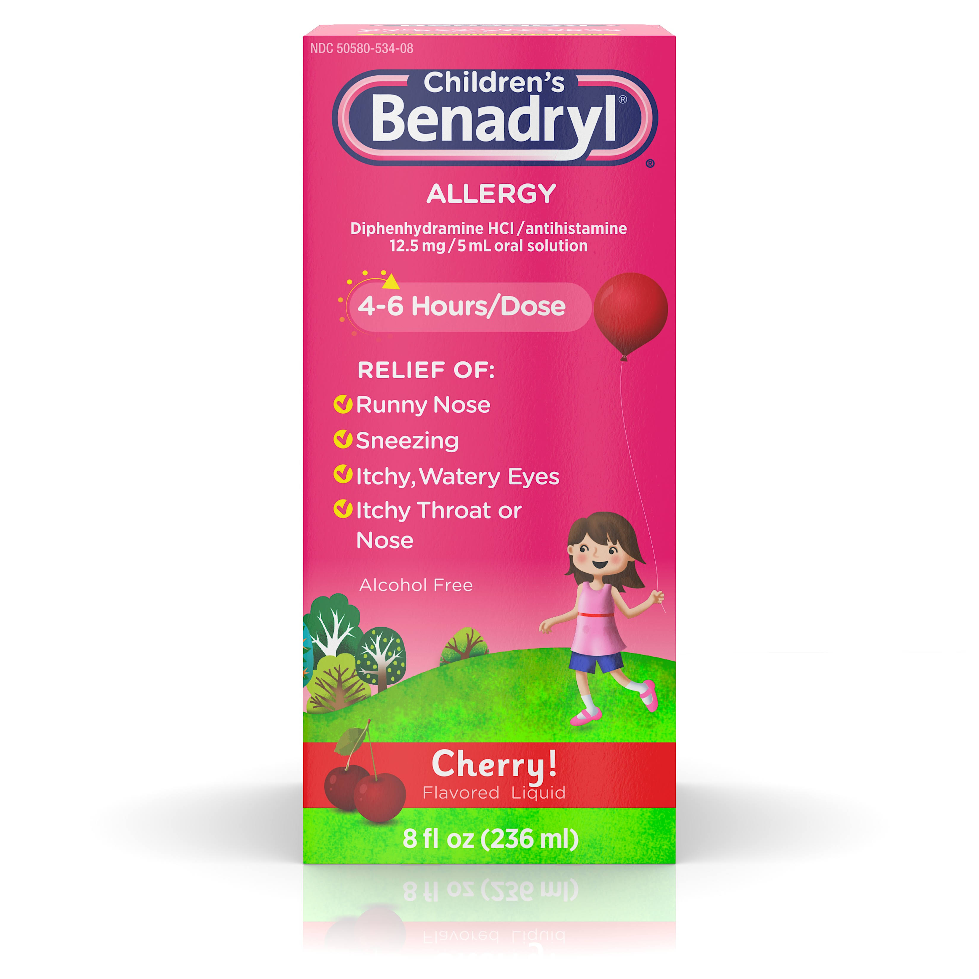 Benadryl Children's Oral Solution Alergy Relief - Cherry, 8oz