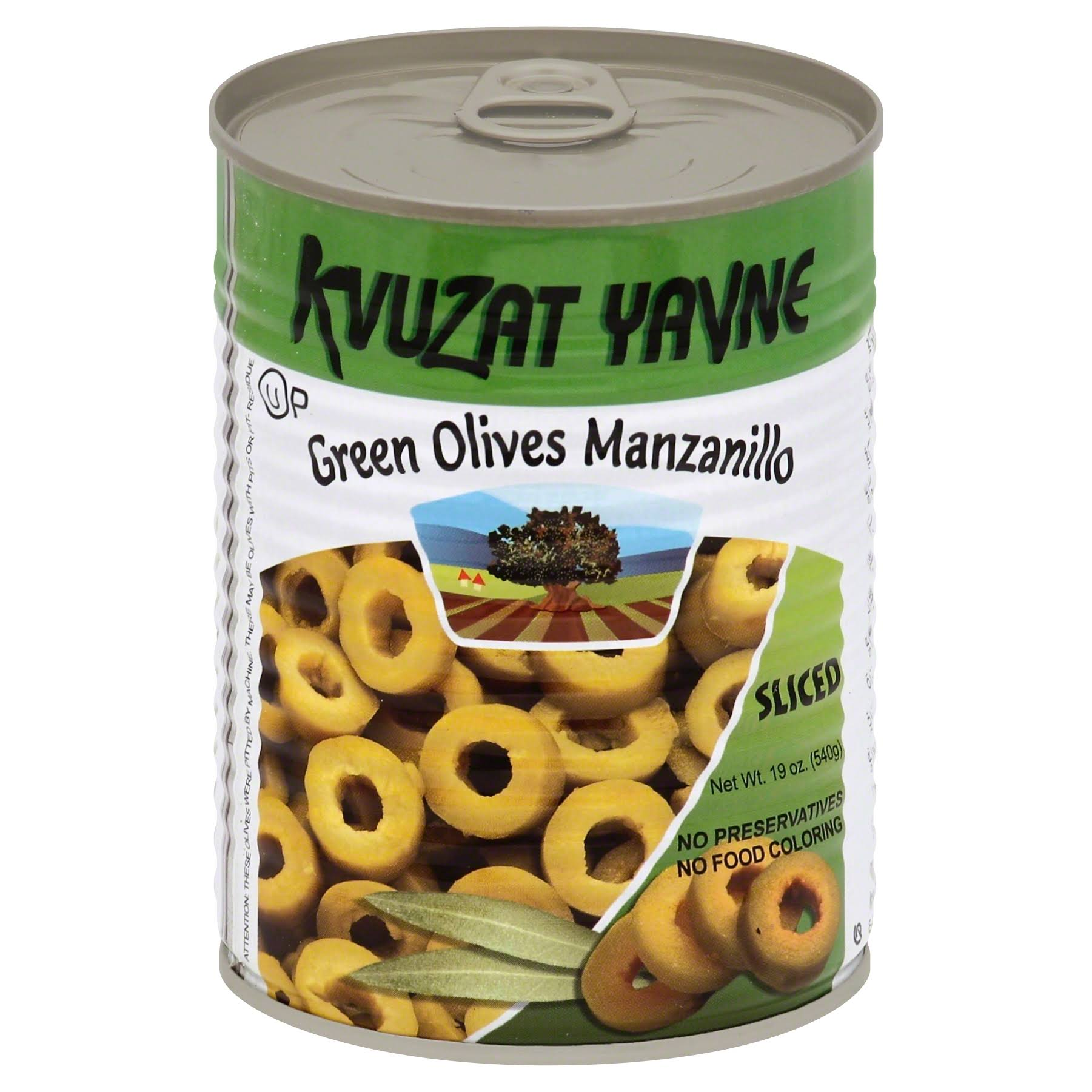 Kvuzat Yavne Olives, Green, Manzanillo, Sliced - 19 oz