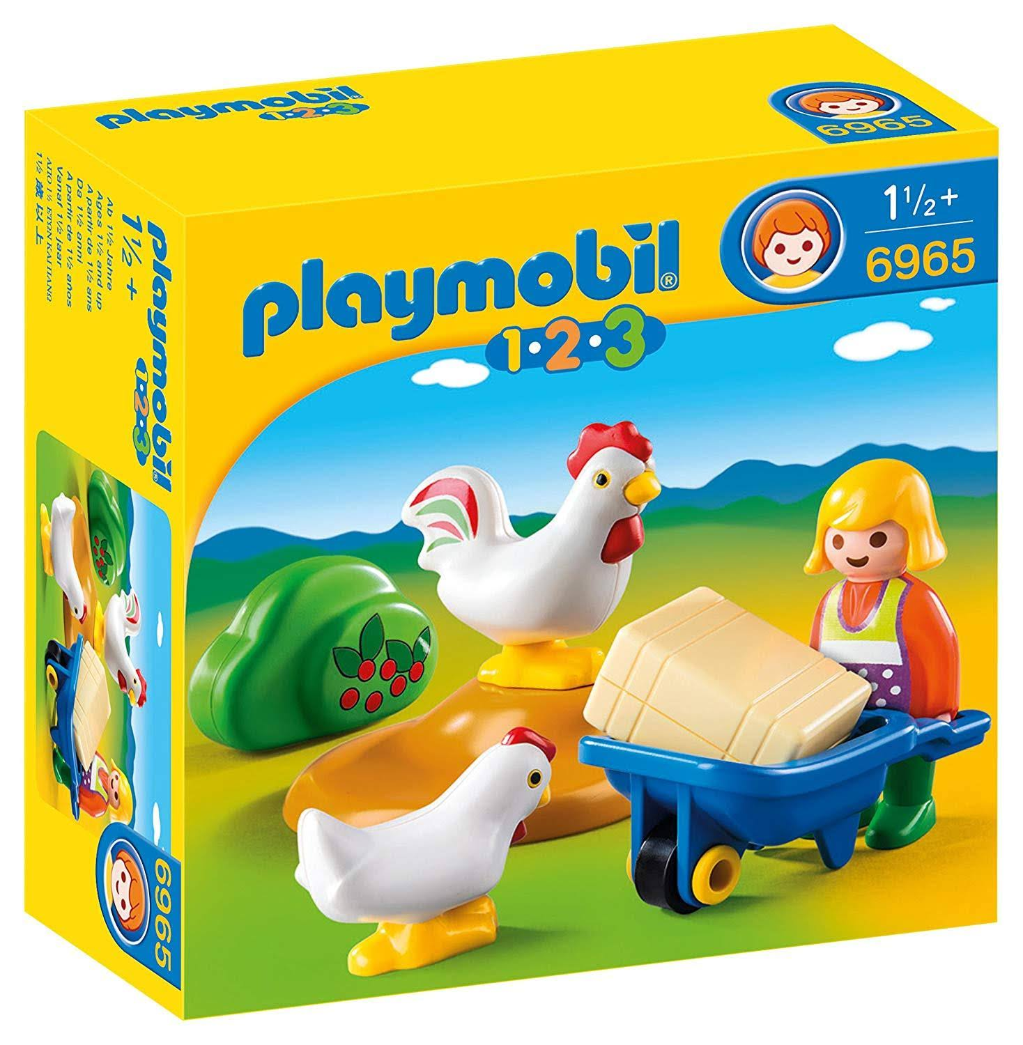 Playmobil 1-2-3 Farmer's Wife With Hens