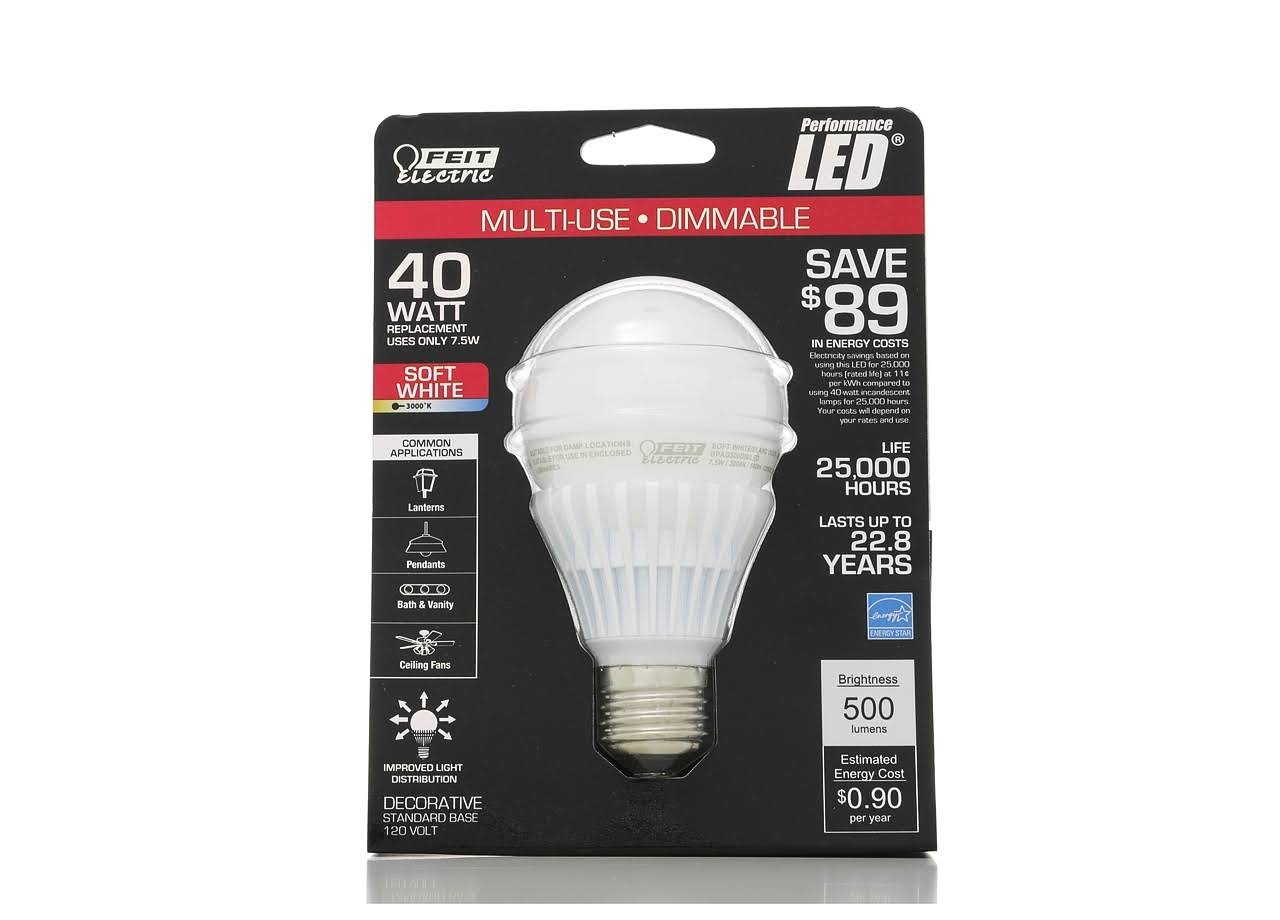 Feit Electric Light Bulb - 7.5W, A19, Soft White