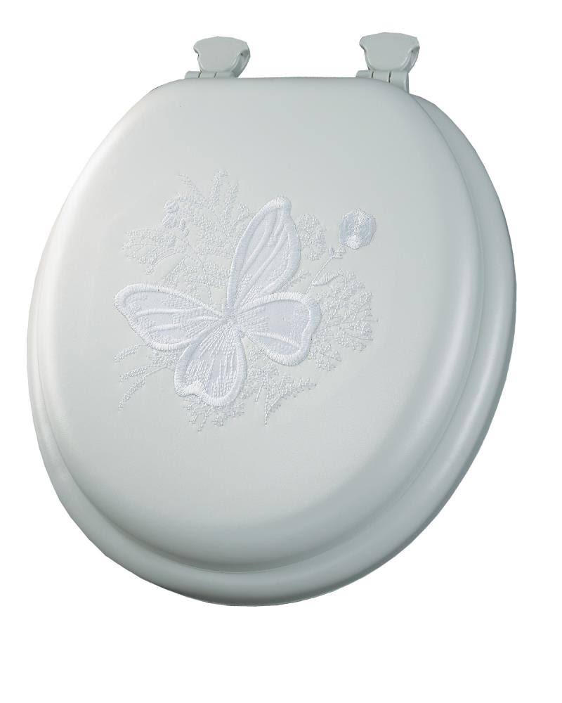 Mayfair Butterfly Embroidered Soft Toilet Seat with Lift-Off Hinges - Round, White