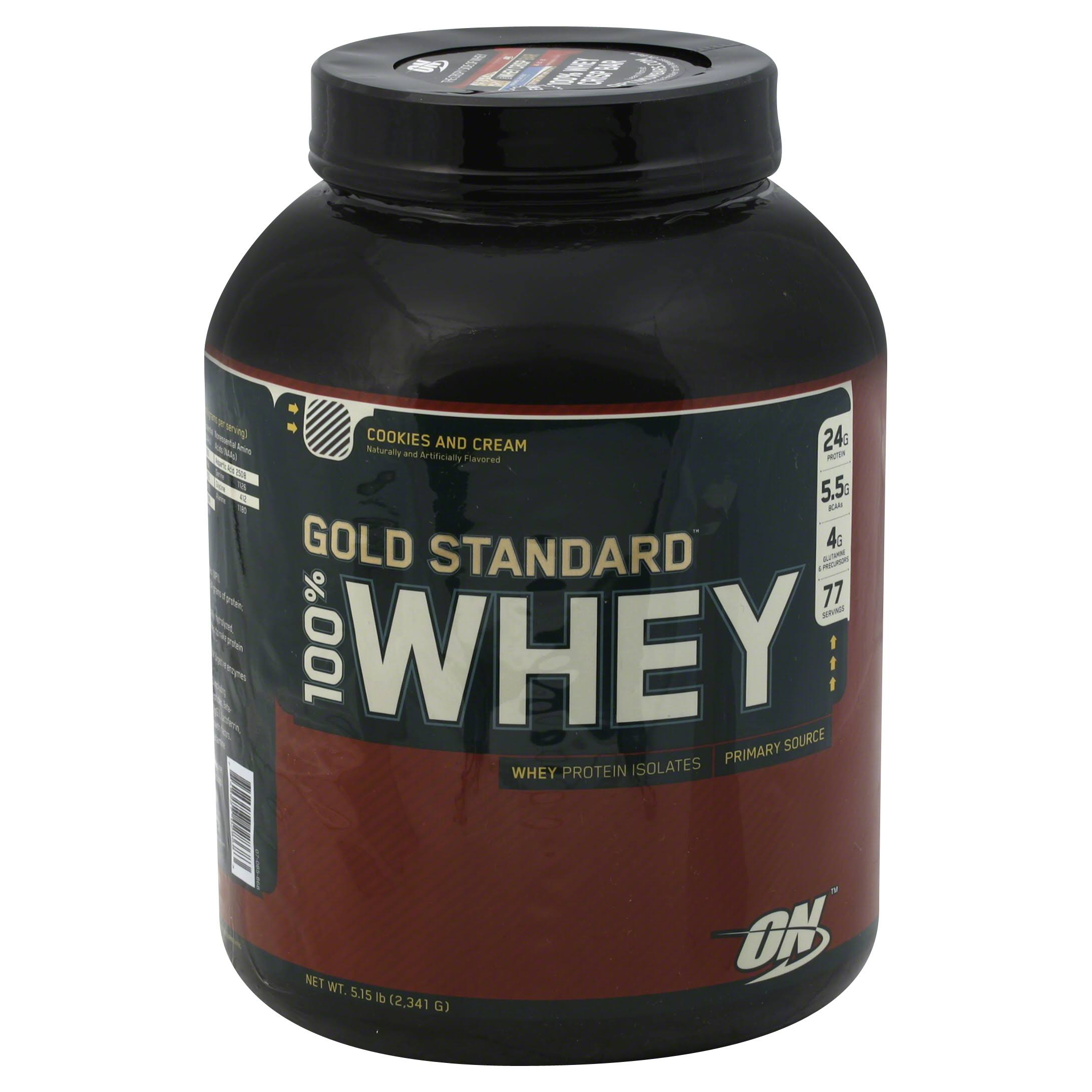 Optimum Nutrition Gold Standard 100% Whey Dietary Supplement - Cookies and Cream, 5lb