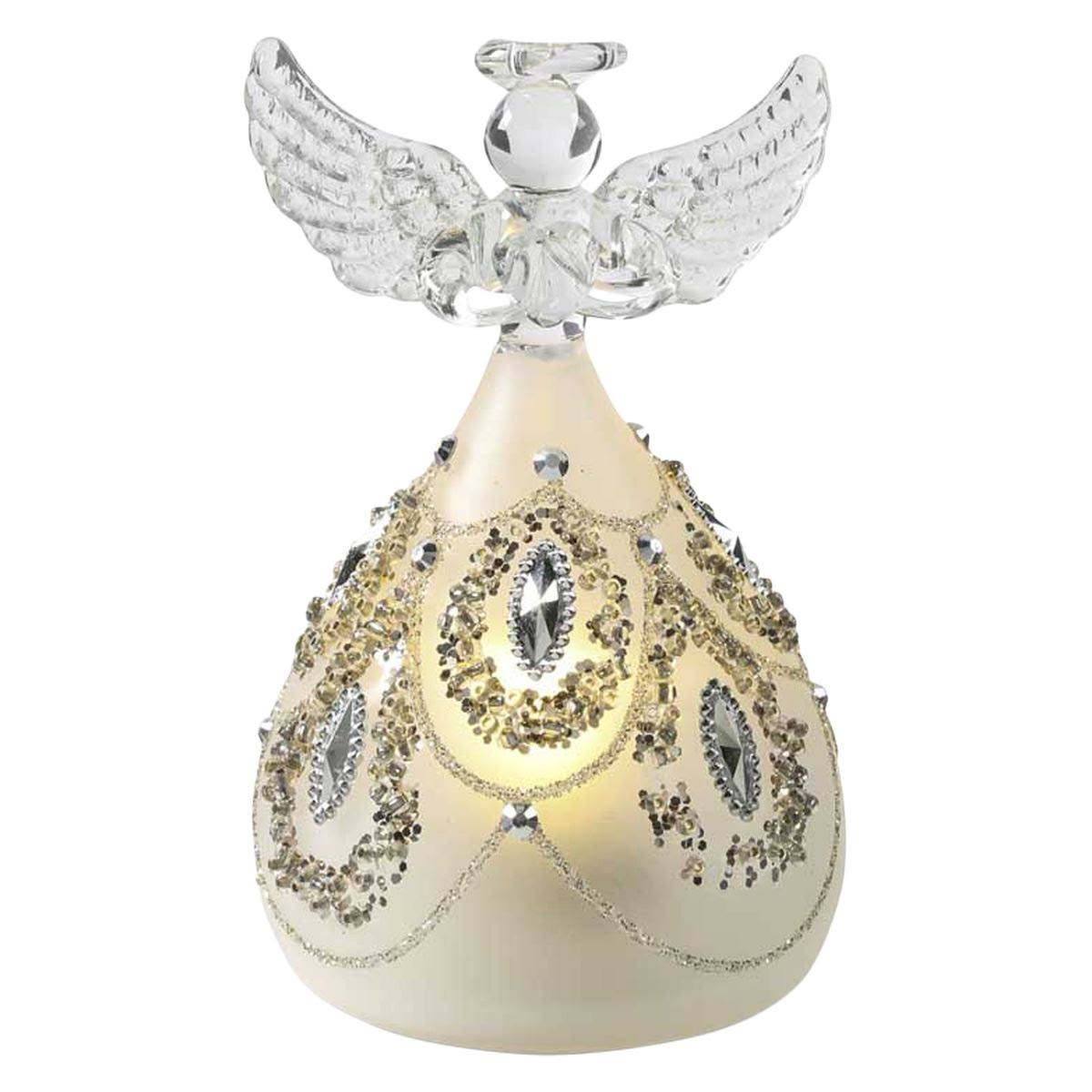K&K Interiors LED Angel with Silver Jewels White/Multi