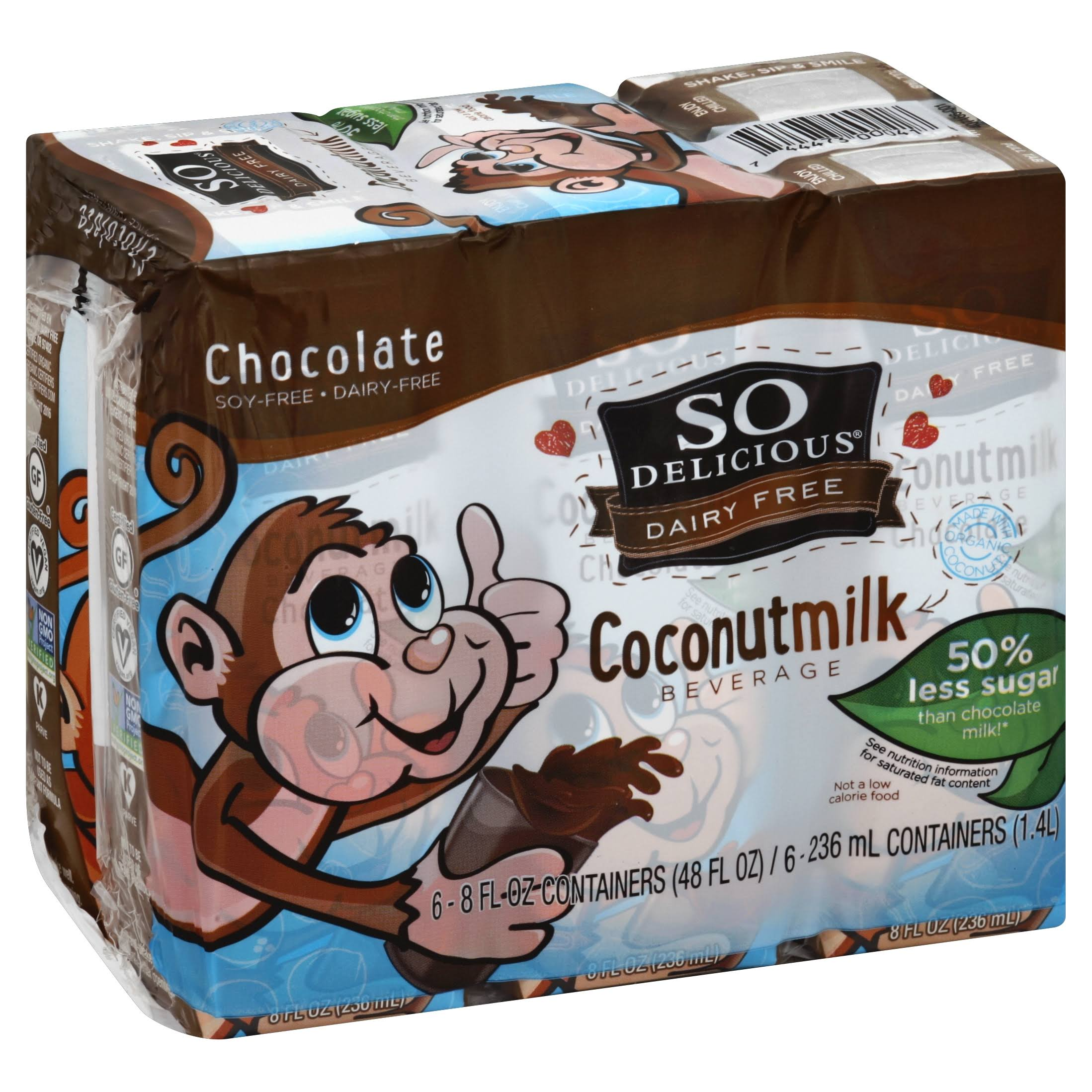 So Delicious Coconut Milk - Dairy Free, Chocolate, 6ct, 236ml