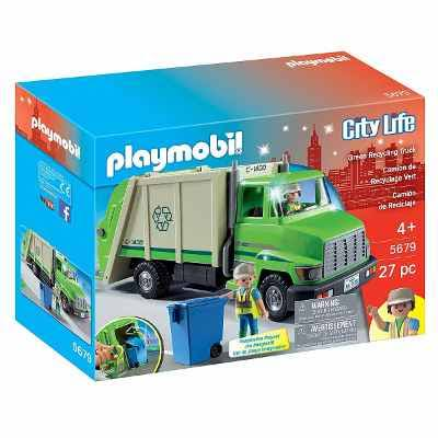 Playmobil City Life Green Recycling Truck - 27 Pieces