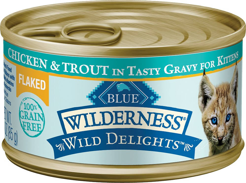 Blue Buffalo Wilderness High Protein Flaked Wet Cat Food - Chicken & Trout, 85g