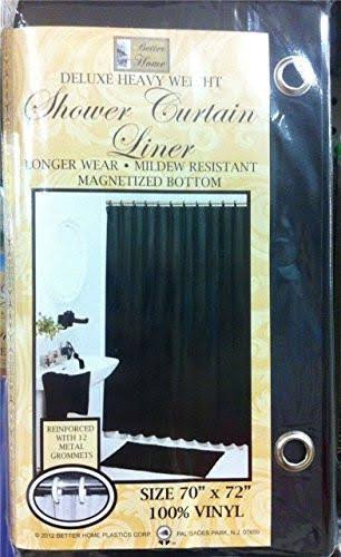 Better Home New Vinyl Shower Curtain Liner with Magnets, Black