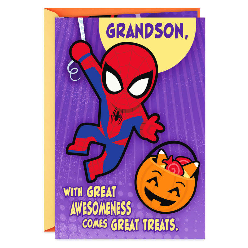 Spider-Man Great Treats Pop Up Halloween Card for Grandson