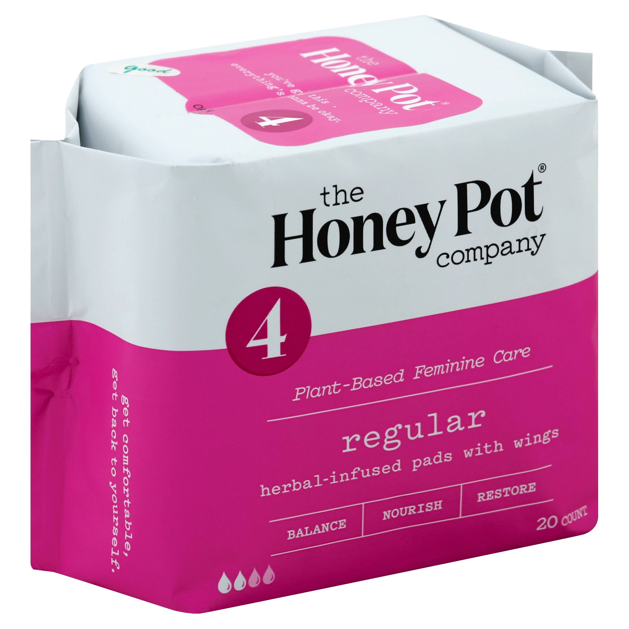 The Honey Pot Regular Feminine Pads Pack - With Wings, 20pk