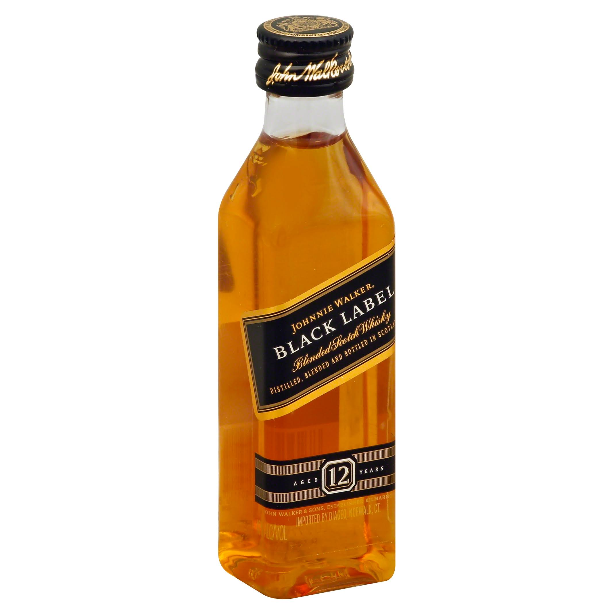 Johnnie Walker Black Label 12 Year Old Scotch Whiskey - 50 ml bottle