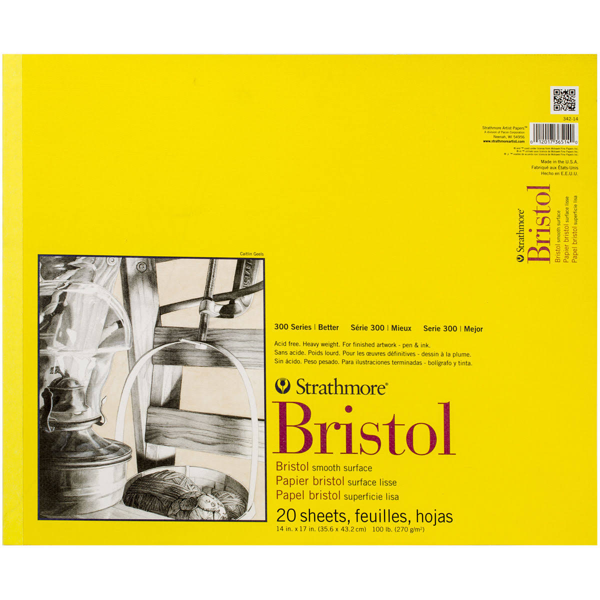 "Strathmore 300 Series Bristol Smooth Pad - 14""x17"", 20 Sheets"