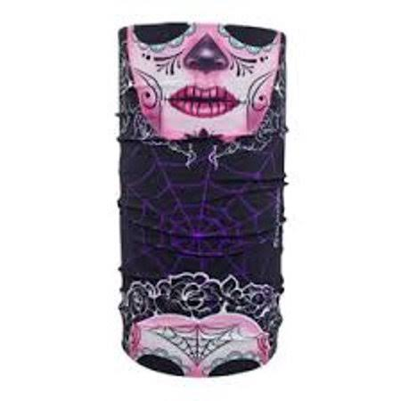 Zan Headgear Sugar Skull Motley Tube Neck Gaiters