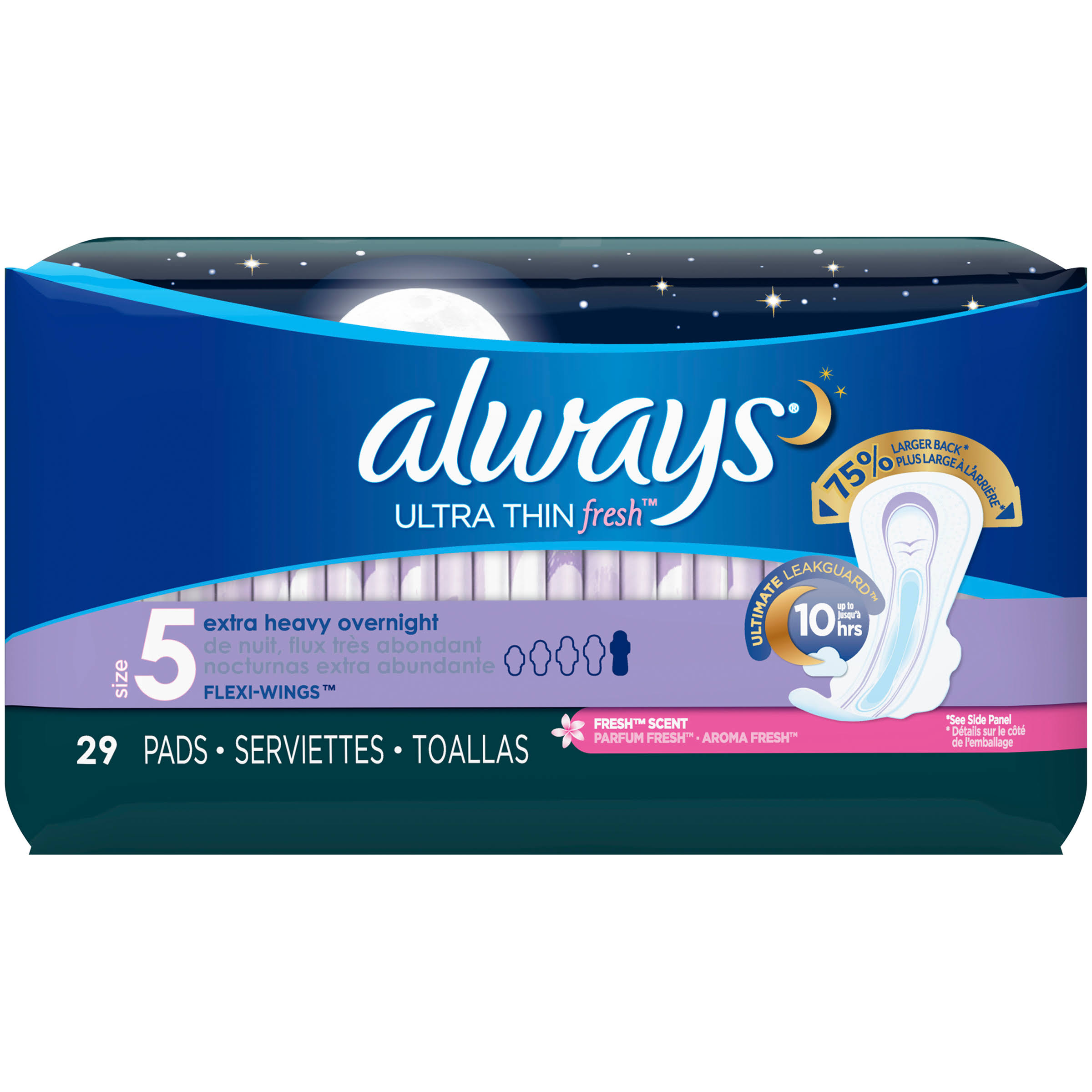 Always Ultra Thin Fresh Pads, Extra Heavy Overnight, Flexi-Wings, Parfum Fresh - 29 pads