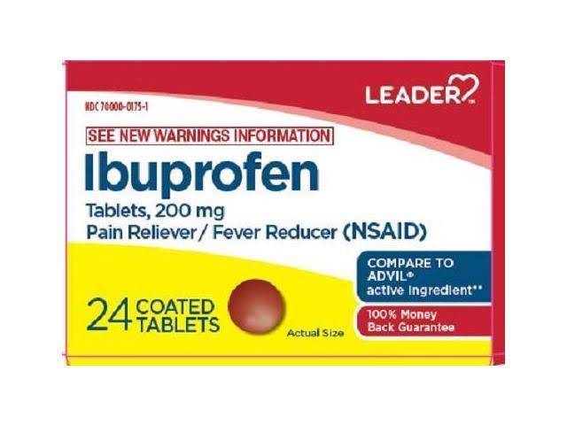 Leader Ibuprofen Coated Tablets 200mg 24ct