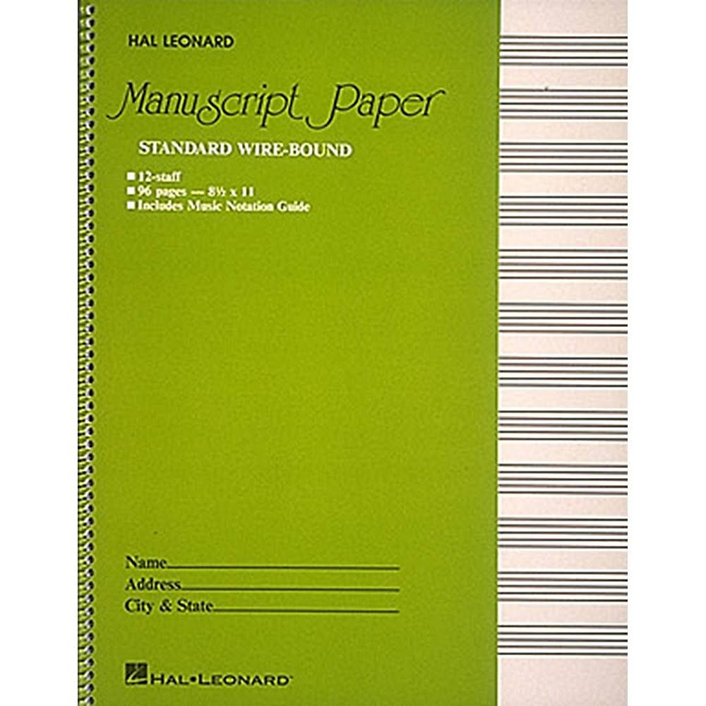 Hal Leonard Standard Wirebound Manuscript Paper - Green Cover, 96 Page, 12 Staves