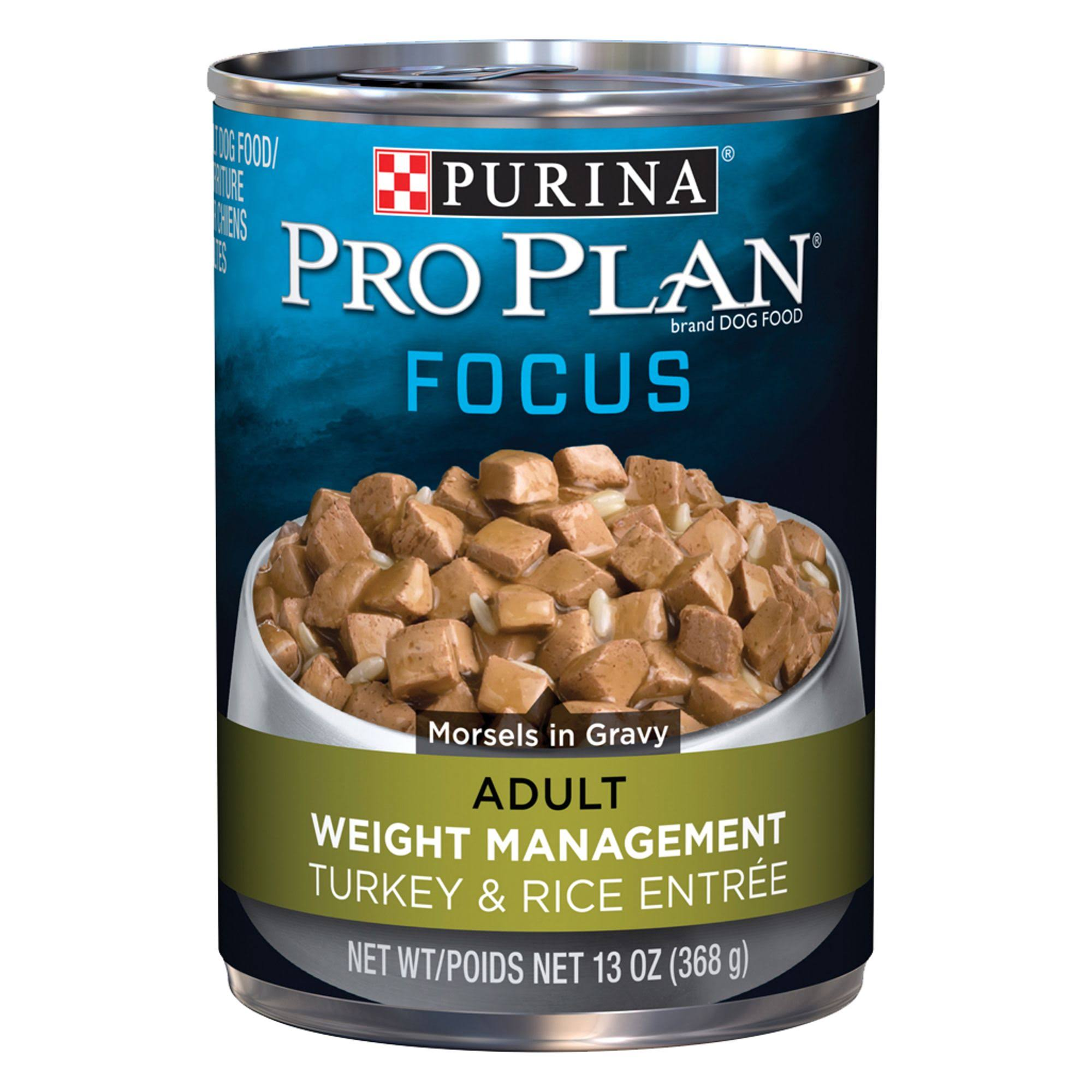 Pro Plan Focus Weight Management Turkey & Rice Canned Dog Food, 13 oz