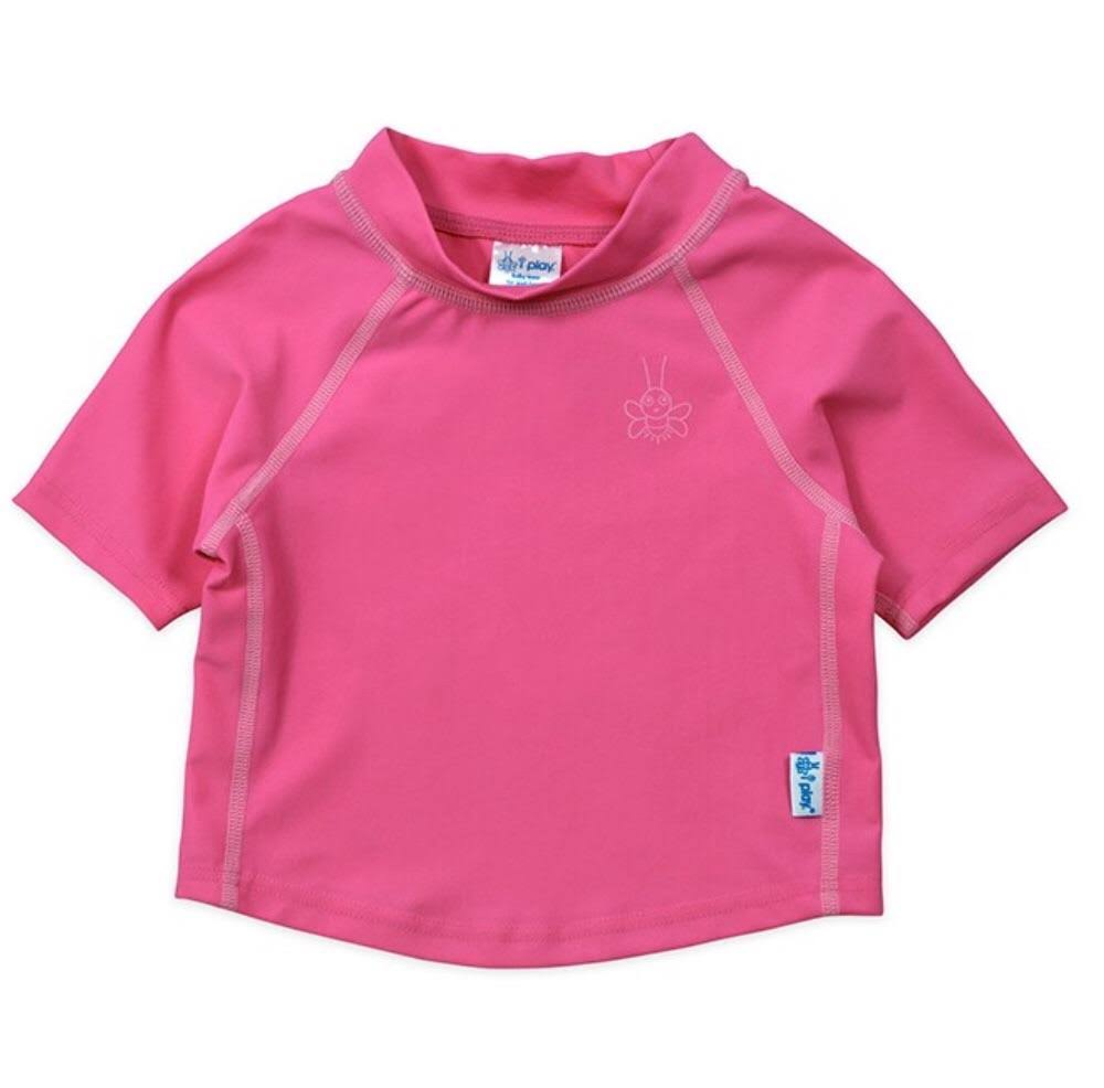 I Play. Baby Short Sleeve Rashguard Shirt, Hot Pink/Pink, 6 Months